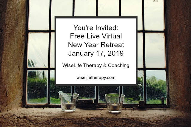Free Live Virtual New Year Retreat hosted by Santa Rosa Therapist Patty Bechtold at wiselifetherapy.com