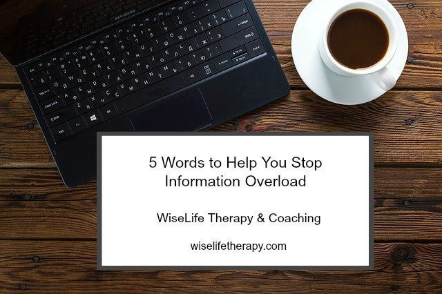 Santa Rosa therapist Patty Bechtold shares thoughts on how to stop information overload with five words at wiselifetherapy.com