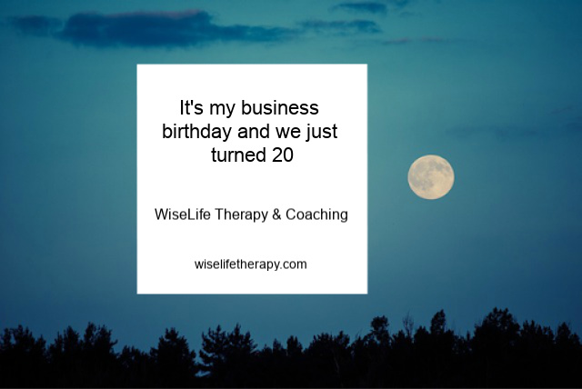 Patty Bechtold, Therapist & Life Coach for women, writes about celebrating her business birthday at wiselifetherapy.com
