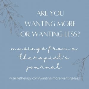 words, wanting more or wanting less, blog post from Patty Bechtold at wiselifetherapy.com